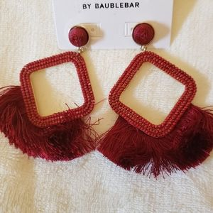 Sugar Fix Red Beaded with Fringe Earrings NWT